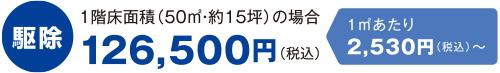 シロアリ駆除 1階床面積(50㎡・約15坪)の場合 126,500円